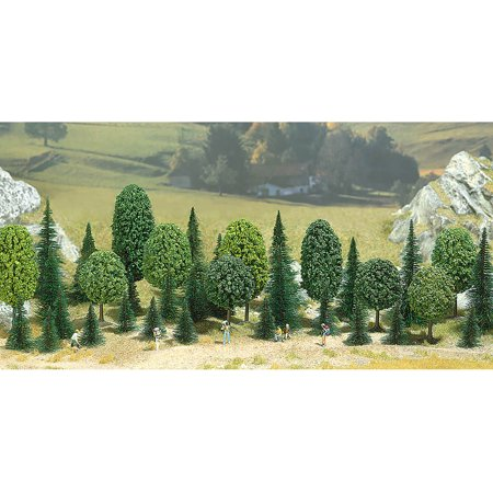 Busch N/HO/O Scale Deciduous/Pine Tree Assortment Package of 35 Various Sizes ()