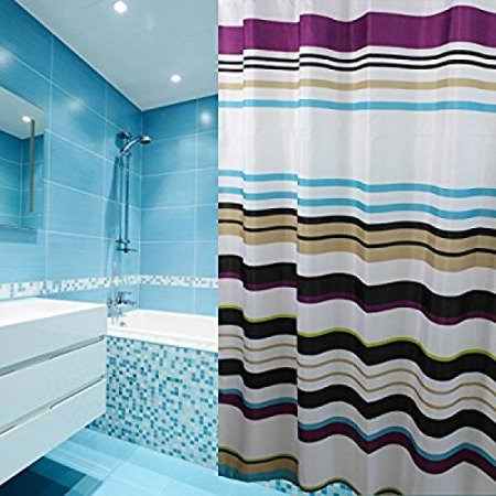 Eforcurtain Shabby Chic Striped Shower Curtain Mildew Proof Water Repellent Fabric Bath Purple