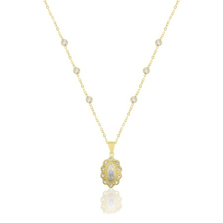 Sterling Silver 18 Karat Yellow Gold Plating Necklace with Cubic Zirconia Stations and Two Tone -