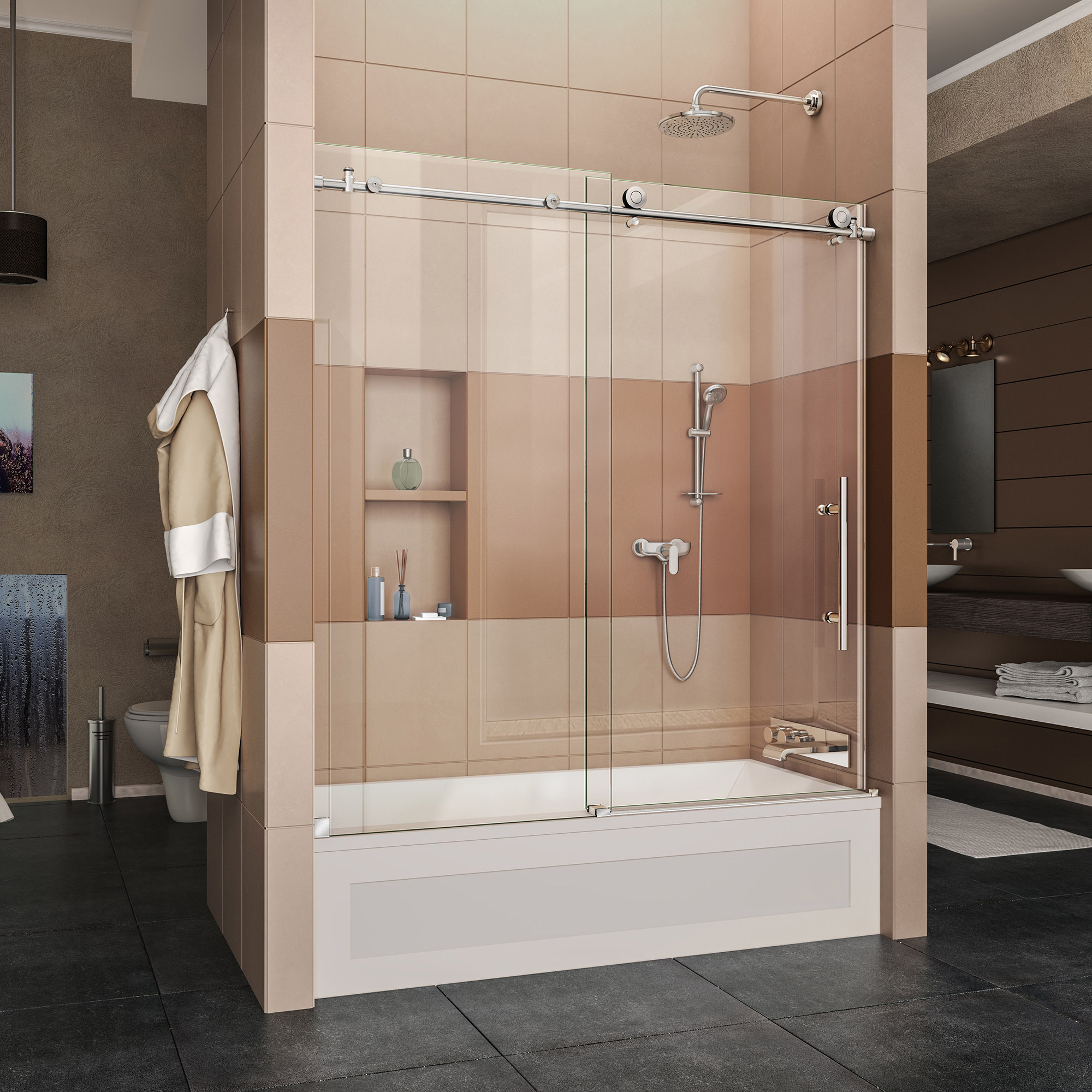 DreamLine Enigma-X 55-59 in. W x 62 in. H Fully Frameless Sliding Tub Door in Polished Stainless Steel