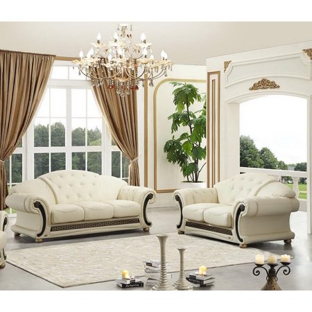 Genuine Leather Sofa Loveseat Set 2Pcs Contemporary Luxury ESF Apolo Ivory ()