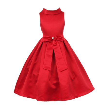 Girls Red Bridal Dull Satin Bow Rhinestone Flower Christmas Dress 12
