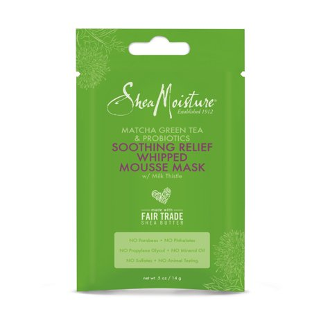 SheaMoisture Matcha Green Tea & Probiotics Soothing Relief Whipped Mousse Mask with Milk Thistle, 0.5 Oz.