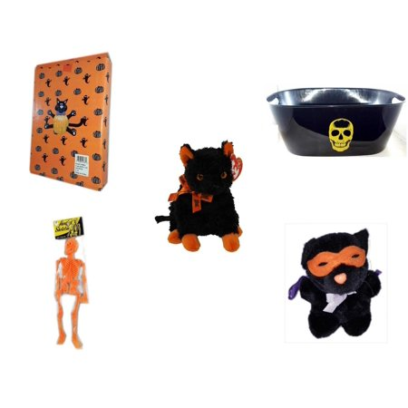 Halloween Fun Gift Bundle [5 Piece] -  Cat Pumpkin Push In 5 Piece Head Arms Legs - Black With Skeleton Oval Party Tub - Ty Beanie Baby