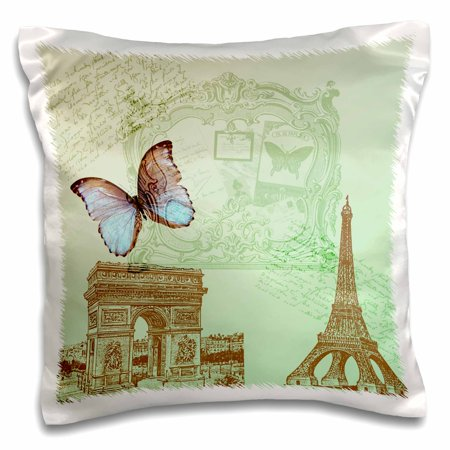 3dRose Vintage Paris Butterfly- Eiffel Tower - Pillow Case, 16 by 16-inch - Paris Sweet 16