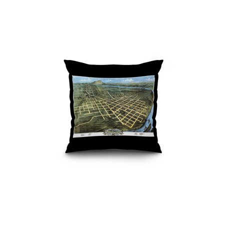 Chattanooga, Tennessee - Panoramic Map (16x16 Spun Polyester Pillow, Black Border)