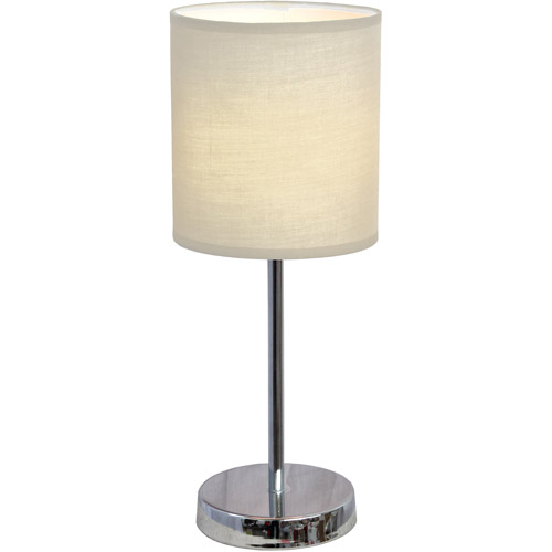 Simple Designs Chrome Mini Basic Table Lamp with Fabric Shade by Simple Designs