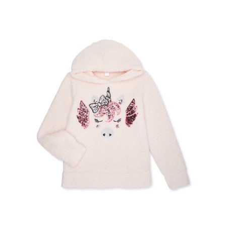 Miss Chievous Girls 4-16 Sequin Critter Plush Sherpa Pullover Hoodie
