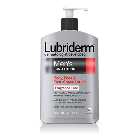 Men's 3-In-1 Unscented Lotion Enriched with Soothing Aloe for Body and Face, Non-Greasy Post Shave Moisturizer, Fragrance-Free, 16 fl. oz