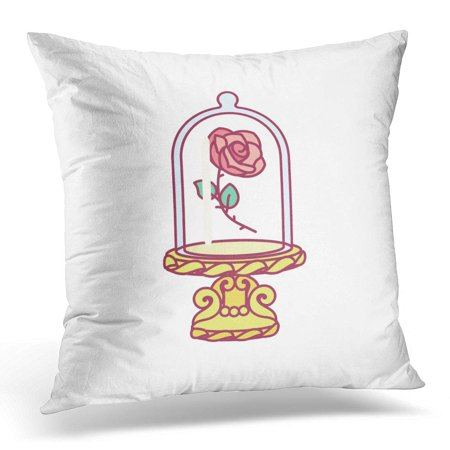 ECCOT Cute Blooming Rose Under Flask Glass Golden Stand Red Eternal Flower Royal Luxury Fairy Symbol Beauty Pillowcase Pillow Cover Cushion Case 18x18 inch ()
