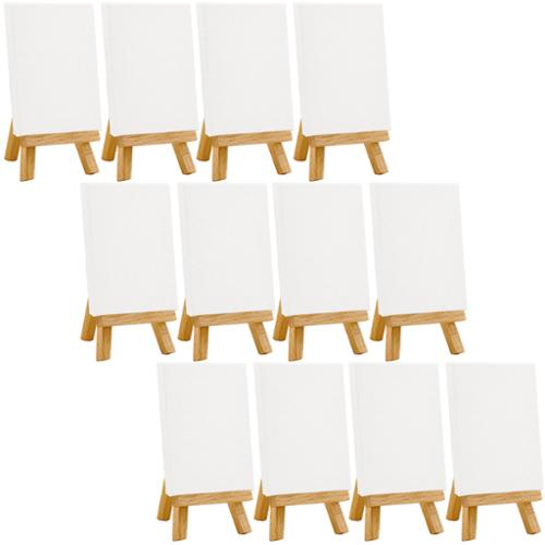 "12 US Art Supply Artists 3"" x 4"" Mini Canvas & Easel Set Painting Craft Drawing"