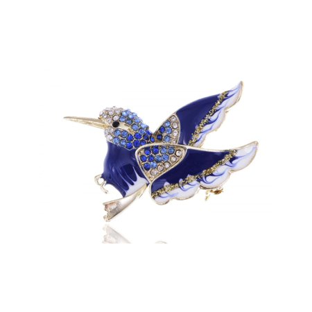 Rhinestone Accented Golden Toned Enamel Painted Winged Bird Pin Fashion Brooch