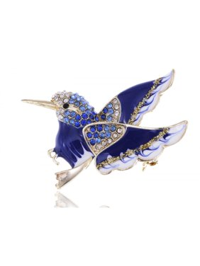 ed4353a0a018 Product Image Rhinestone Accented Golden Toned Enamel Painted Winged Bird  Pin Fashion Brooch