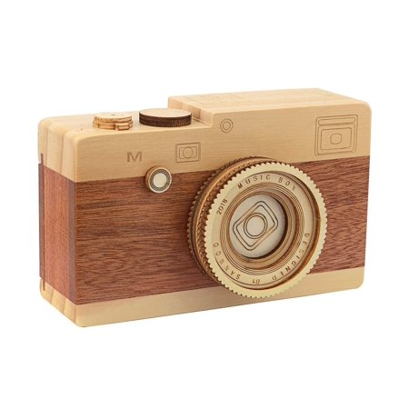 Dedoot Wooden Music Box Decor, Camera Music Box Vintage Wood Musical Box for Boys Girls Birthday Gift Photo Prop and Home Decor