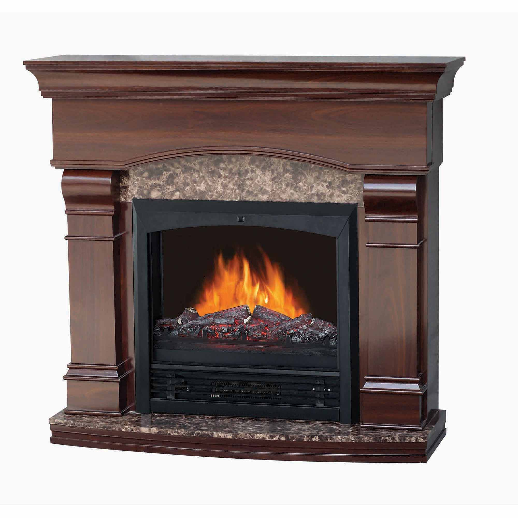 "Electric Fireplace with 47"" Mantle, Walnut"