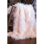 Faux Fur Throw Blanket, Mongolian Long Hair Pink