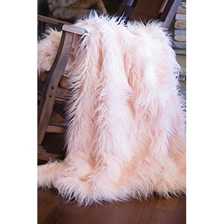 Faux Fur Throw Blanket, Mongolian Long Hair Pink Pink Faux Fur Throw