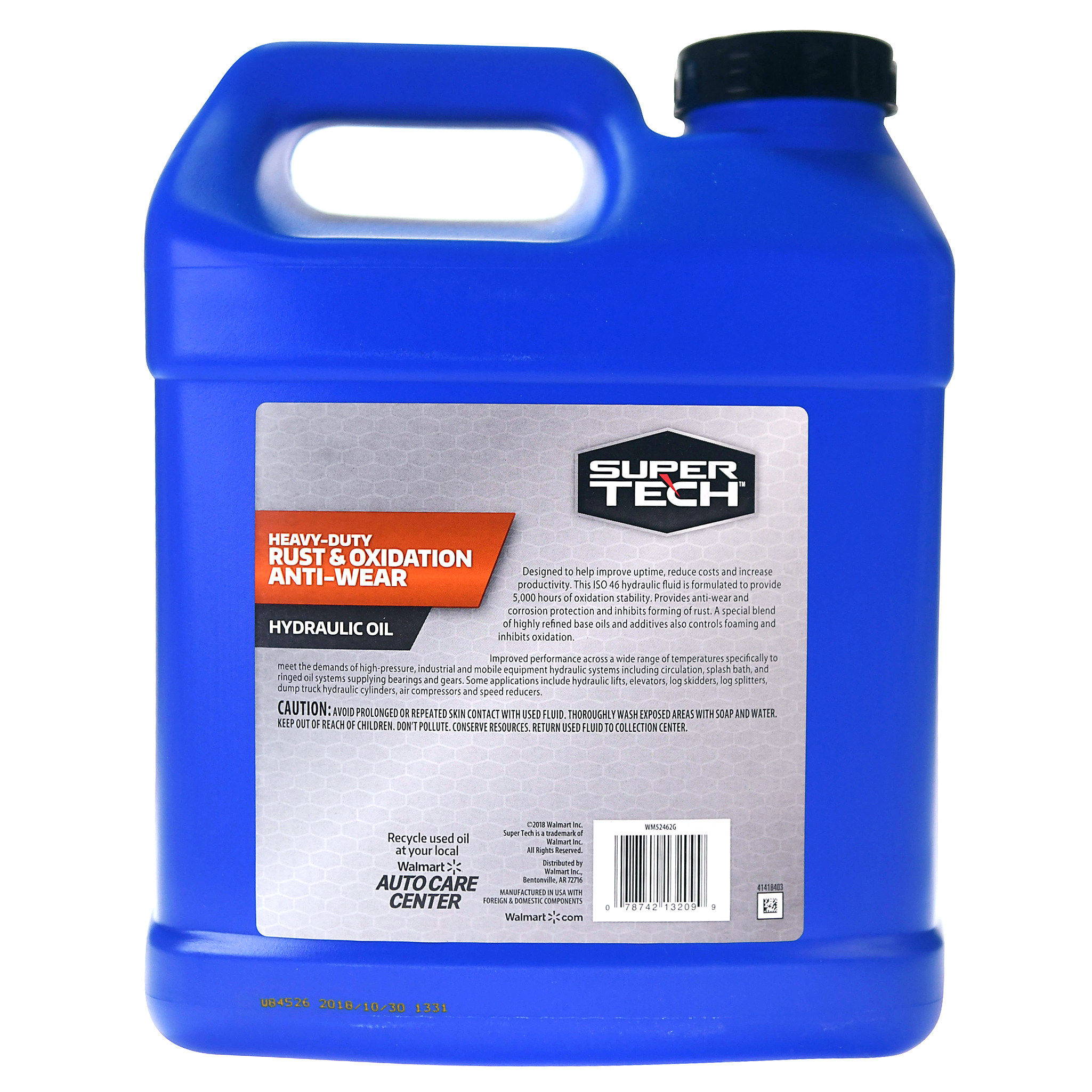 Super Tech Heavy Duty Rust and Oxidation Anti Wear Hydraulic Oil, 2 Gallons