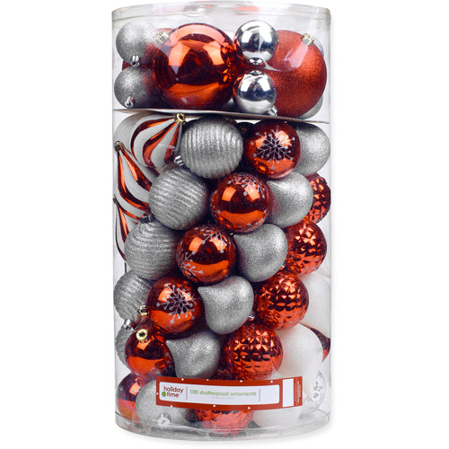 Holiday Time 120/80/70/60mm Round Red/Silver/White Shatterproof Christmas Ornaments, Set of 100