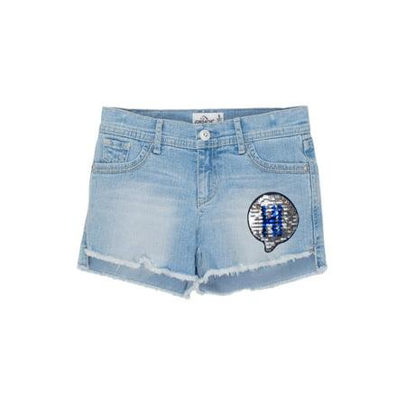 Embellished Fray Hem Denim Short (Little Girls & Big Girls)](Skorts For Girls)