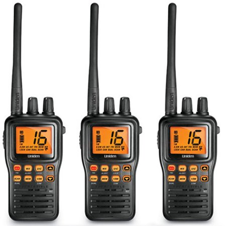 Uniden MHS75 3-Pack Two-Way Submersible Marine Radio with LCD Screen