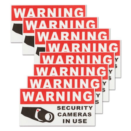 8pcs Vinyl CCTV Video Surveillance Security Camera Sticker Security Burglar  Alarm Warning Sticker Sign Decal Self Adhesive Home Office Work School