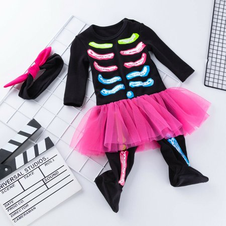 Toddler Baby Girl Kids Halloween Costume Jumpsuit Headband Ruffles Mini