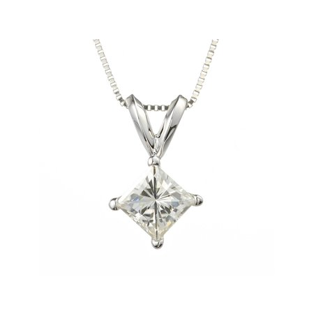 Charles & Colvard White Gold Square Brilliant Cut 4.5mm Moissanite Pendant Necklace, 0.60ct - Moissanite Square Brilliant Cut