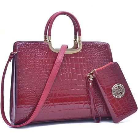Dasein  Faux Patent Leather Croco Briefcase w/ Bonus Shoulder Strap & Zip Around Emblem Wallet