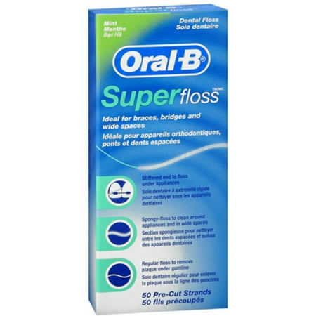 - 2 Pack - Oral-B Super Floss Mint Dental Floss Pre-Cut Strands 50 Each