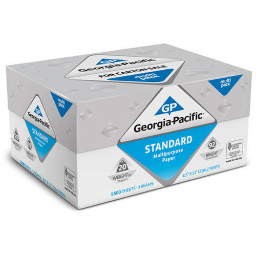 "Georgia-Pacific Standard Multipurpose Paper, 8.5"" x 11"", 20 lb, 92 Brightness, 1500 Sheets"