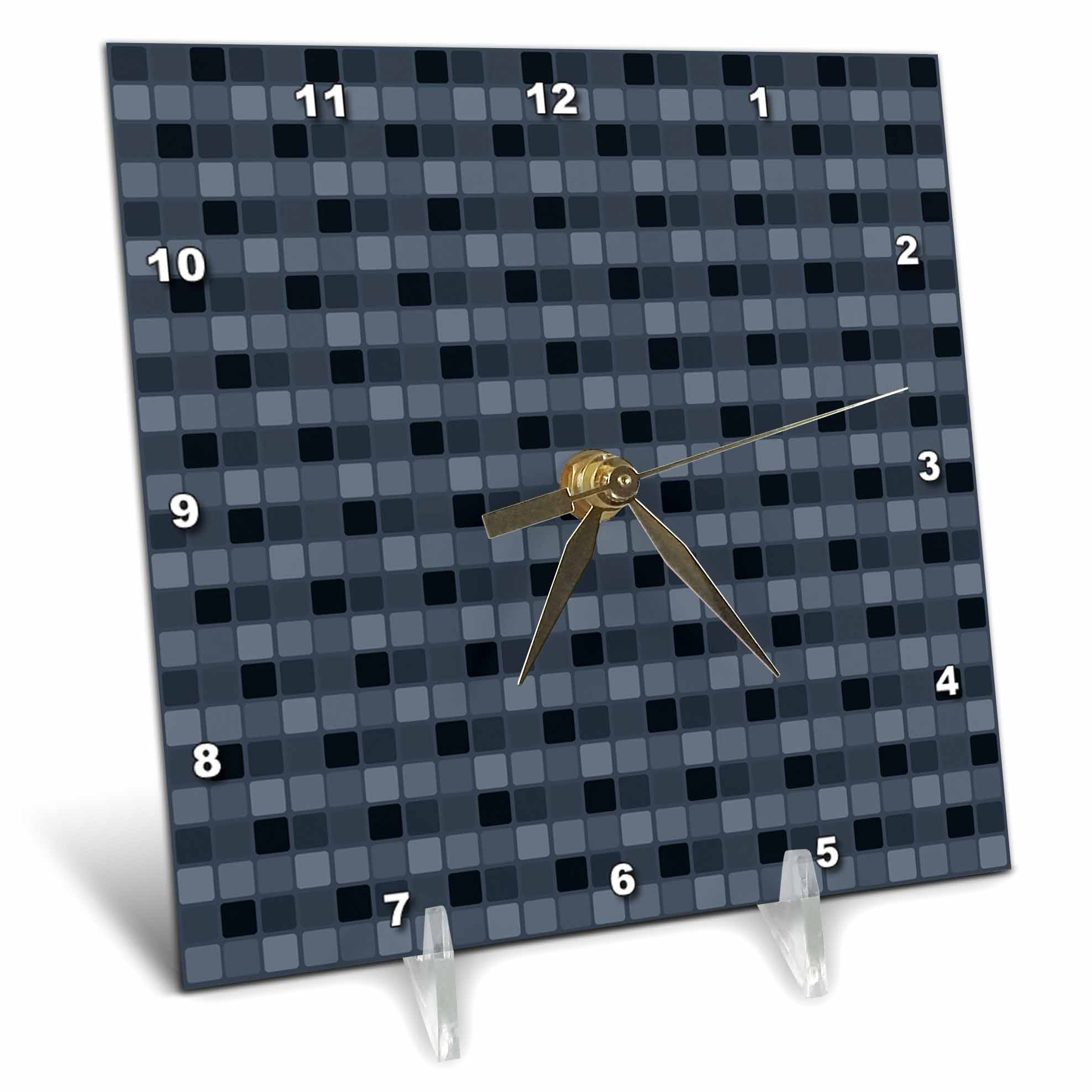 3dRose Navy Blue Squares Geometric, Desk Clock, 6 by 6-inch by 3dRose