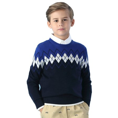 Kids Pullover (Leo&Lily Big Boys' Kids' Wool Blends Jacquard Casual Pullover)