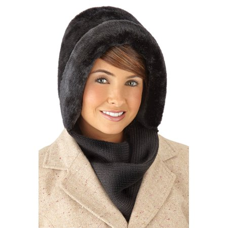 cc99cafb6b4 Collections Etc Faux Fur Winter Hat with Attached Scarf