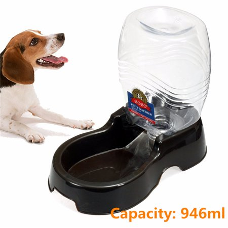 946ml Capacity Pet Water Dispenser Station, Auto Replenish Gravity Waterer Drinking Bottle Bowl Dish Portable Stand for Dog Cat Animal Auto Pet Water