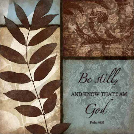 Be Still Psalm Patterned Panels with Leaves Painting Blue Canvas Art by Pied Piper Creative