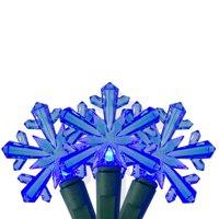 25 Blue LED Snowflake Mini Christmas Lights - 8 ft Green Wire