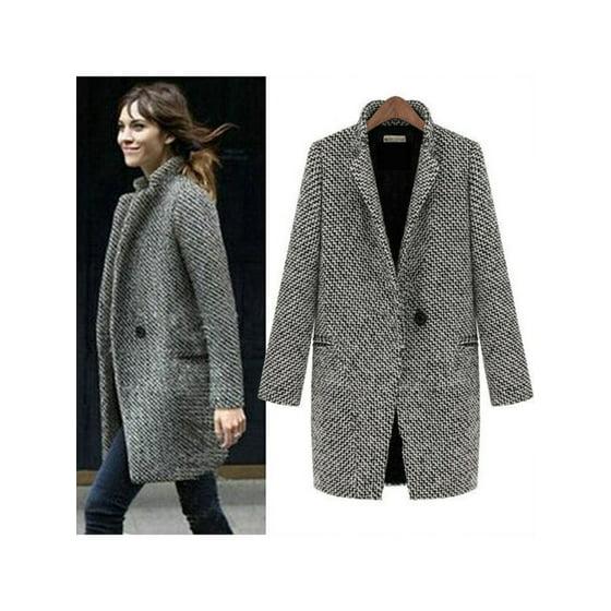 37b209a1047 Womens Lapel Collar Wool Long Winter Parka Coat Trench Outwear Jacket Tops  - Walmart.com