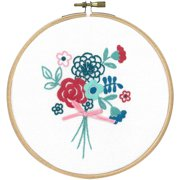 """Modern Flowers W/Bow Stamped Embroidery Kit-5.8"""" Round"""