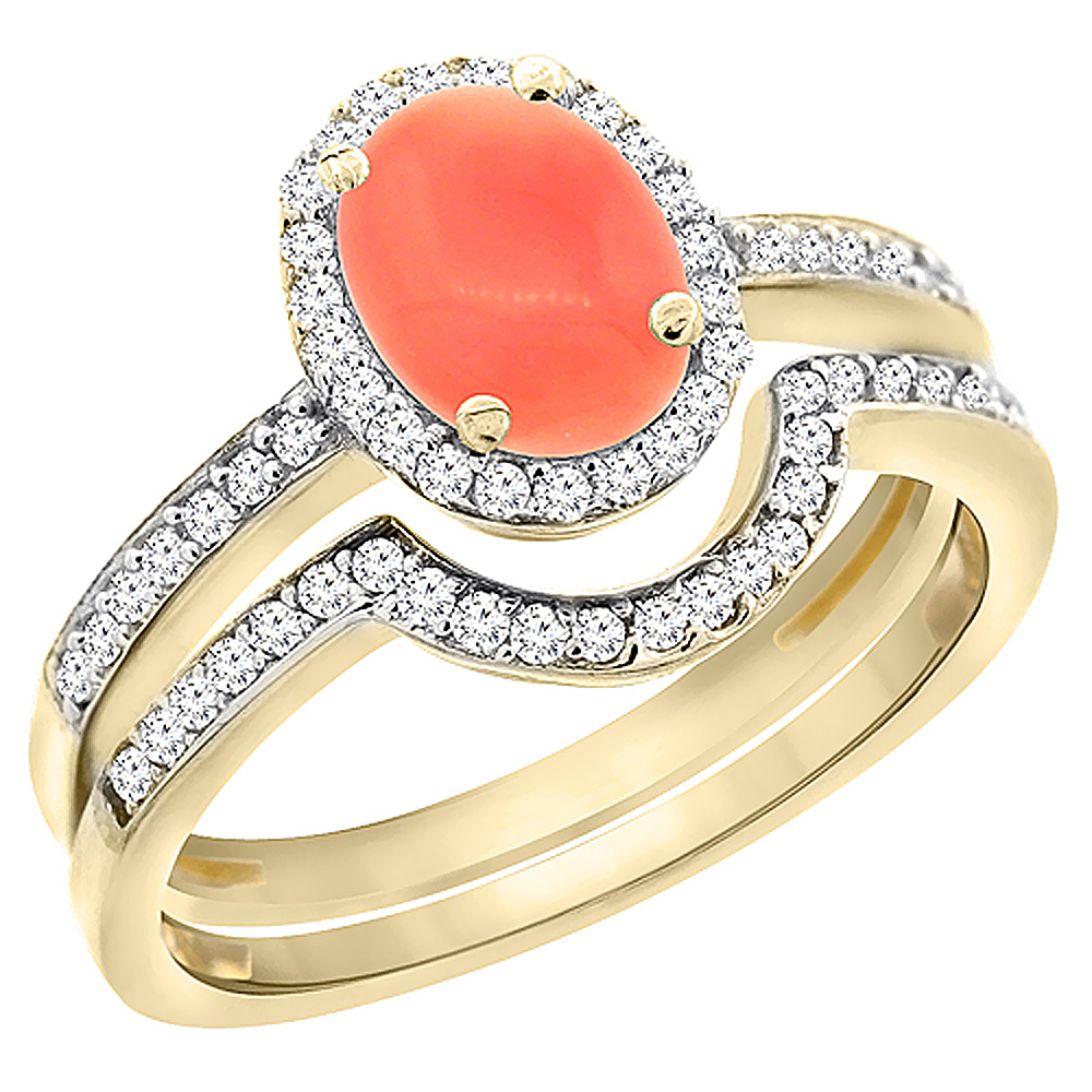 14K Yellow Gold Diamond Natural Coral 2-Pc. Engagement Ring Set Oval 8x6 mm, size 5 by Gabriella Gold