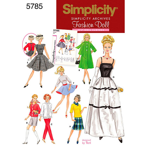 """Simplicity Patterns 11-1/2"""" Fashion Doll Clothes, One Size"""