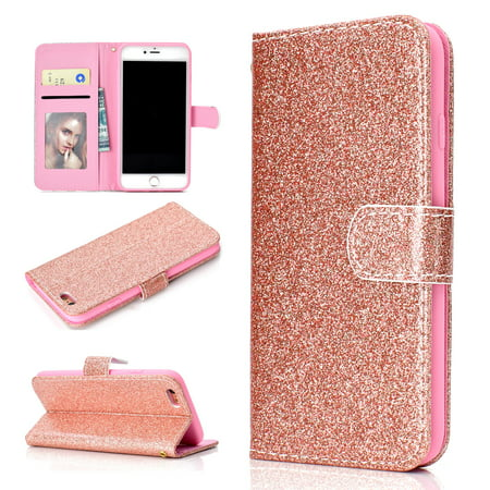 Iphone 6s Plus Case Wallet Iphone 6 Plus Case Allytech Glitter Sparkle Bling Cover Folio Credit Card Holder Wristlet Protective Phone Case For Girls