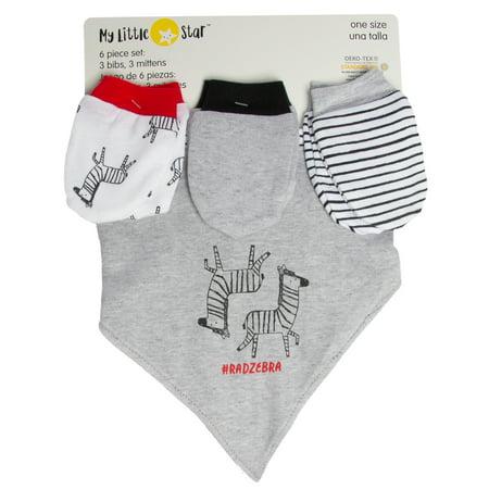 9533c46e97a3 My Little Star (6 Piece) Baby Girl   Boy Bibs   Mittens Set Cotton ...