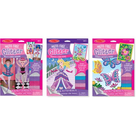 Melissa & Doug Mess-Free Glitter Activity Kits Set: Fashions, Fairies, and Flowers