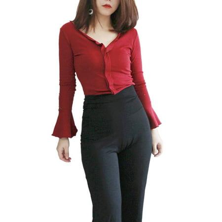 c5c9bba72b EFINNY - EFINNY Sexy Women V-neck Long Ruffle Sleeve Slim Shirts Bottom  Blouse - Walmart.com