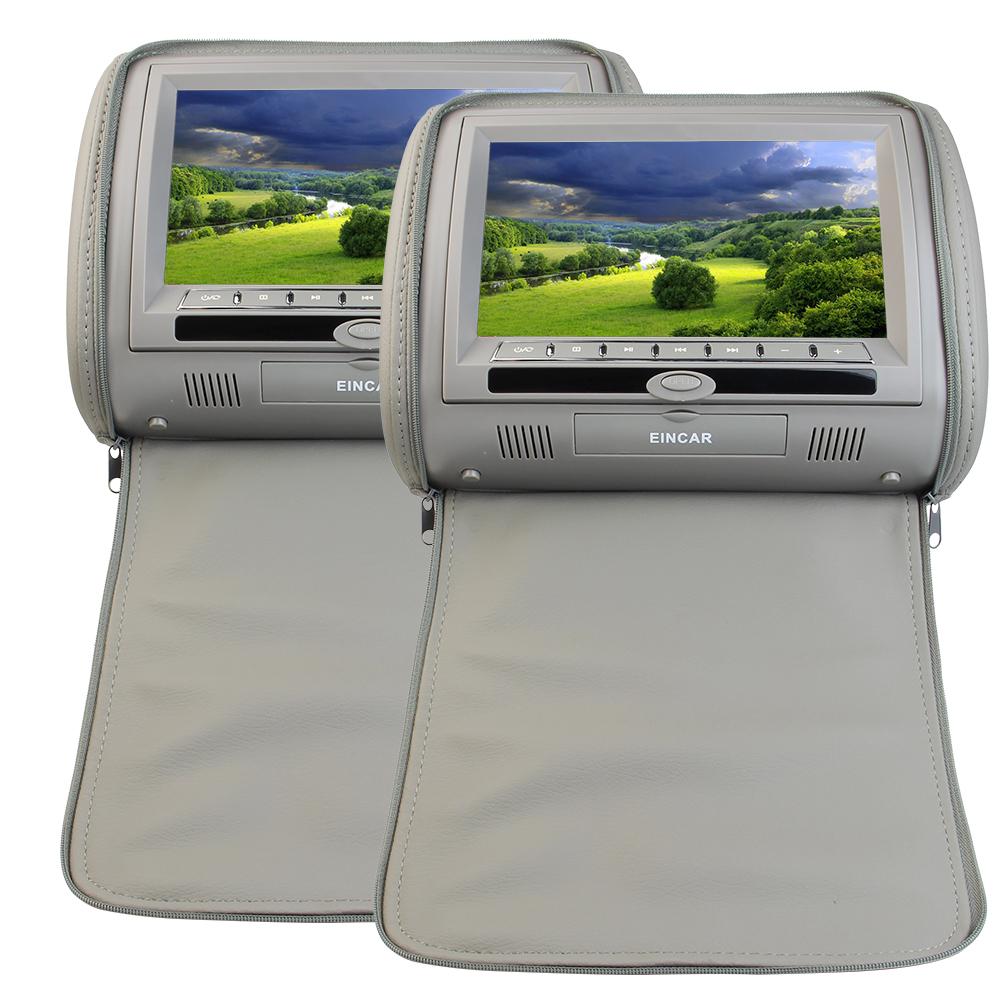 Eincar 9 Inch Grey Car Headrest Monitors Twin DVD Player ...