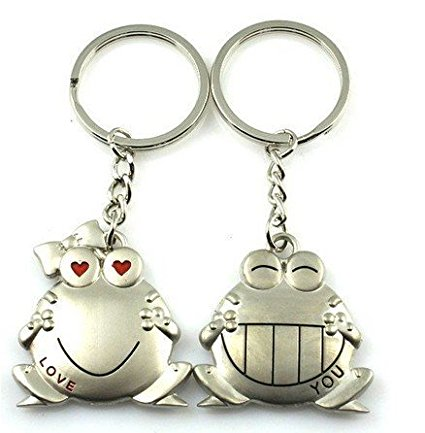 Cookids Romantic Big Mouth Frogs Couple Keychain Metal Boy Girl Love Lovers Sweethearts Key Chain Ring