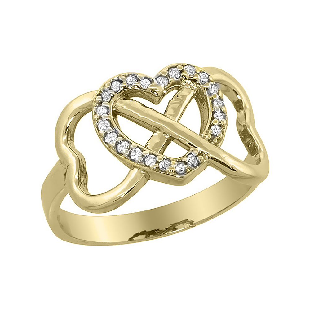 10K Yellow Gold Diamond Infinity Heart Ring, sizes 5 - 10