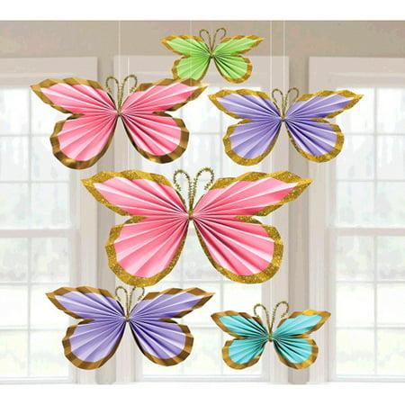 Flower Butterfly Glitter (Pastel Glitter Butterfly Fan Decorations (6pc) )