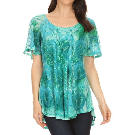 Sakkas Lena Tie-dye Short Sleeve Blouse Top with Crochet Lace and Embroidery - Green - One Size